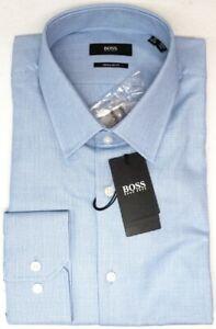 NEW $128 Hugo Boss Blue Geo Dress Shirt Long Sleeve Regular Enzo US 50435621 NWT