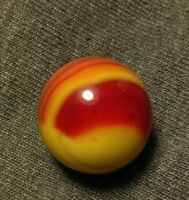 ".63"" RUBY BEE OXBLOOD RED SUNBURST Peltier Marble KING VINTAGE MASTER Marbles"