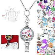 Floating Locket Lanyard Magnetic ID Badge Holder Chain 50 charms Teacher RN Gift