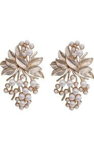 Indian Traditional Bollywood Rose Gold Oxidised Pearl Flower Earrings Jewelry