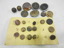 Antique Lot of Brass Topped Buttons-Picture, Embossed & Mirror Backs