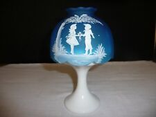 WESTMORELAND MARY GREGORY BLUE SATIN MIST BOY & GIRL CANDLE LAMP