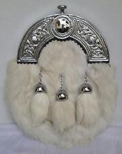 Scottish Kilt White Rabbit Fur Full Dress Sporran