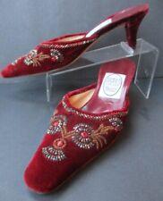 EMMA HOPE'S SHOES Regalia 35/5 ~ Ruby VELVET Bead embellished Kitten Heels ITALY