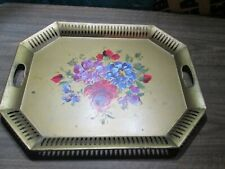 "Vintage Serving Tray Gold Tole Metal Floral Art 20"" x 16"""