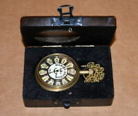 Antique vintage maritime brass pocket watch marine anchor with wooden glass box