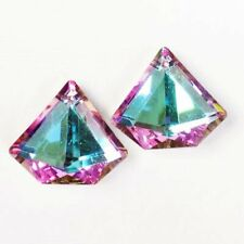 Crystal polygon Pendant Bead H04613 2Pcs Faceted Blue Purple Titanium