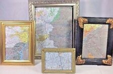 (4) Framed Pennsylvania Maps Picture Frames Black Gold Silver Wood Plastic Glass
