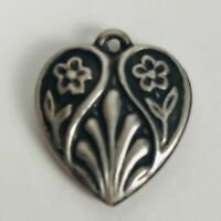 Vintage Sterling Silver Puffy Heart Bracelet Charm Double Flower Engraved Mother