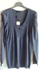 Maglione blu cotone lavorato scollo V donna taglia XXL