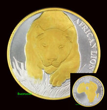 2017 Congo 24K Gold Gilded 1 ounce Oz .999 Silver African Lion Coin COA Coin BU