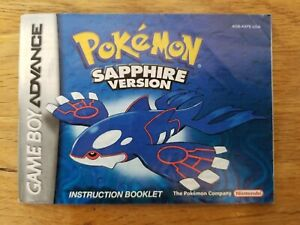 Pokemon Sapphire Original Gameboy Advance Owners Manual FREE DOMESTIC SHIPPING!!