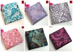 Pocket Square Handkerchief Hanky Blue Orange Red Silver Orange Grey 100% Silk