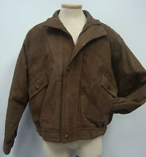 HOWARD'S EXCLUSIVE LEATHER BROWN SUEDE INSULATED COAT BOMBER JACKET MADE IN USA