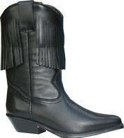 Ladies Genuine Leather Western Cowboy Boots Black with Tassel Fringe Tassle