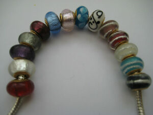 Golden Single Core Lampwork Beads for European Charm Bracelets