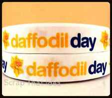 "Daffodil Day  RIBBON.  7/8"" Grosgrain. CANCER Awareness. Scrapbooking/Craft/Bows"