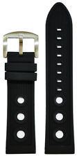 24mm Panatime Black Waterproof Rally Stripe Watch Band For Breitling 125/80