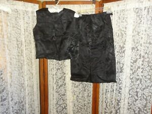 Vintage 60's Nelly De Grab black floral tone on tone dress suit top skirt lot S