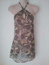 SIZE 12 WOMEN'S NATURAL COLOR PAISLEY PRINT HALTER NECK 'URBAN' TOP BNWT