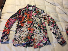 NEW WOMENS ASDA WOMEN BLOSSOM FLORAL BUTTON UP FRONT SHIRT BLOUSE SMALL PETITE