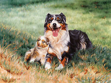 "AUSTRALIAN SHEPHERD DOG ART LIMITED EDITION PRINT - ""Mother and Puppy"""