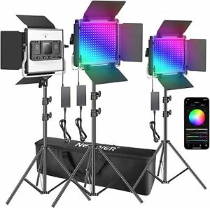 Neewer RGB 530 LED Panel Lights - 3 Pack with Stands and Carry Bag