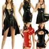 Womens Wet Look Leather Sexy Bodycon Mini Dress Ladies Evening Party Club Dress