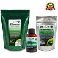 Moringa Combo Starter Pack - Oil, Powder and Organic Tea 100% Pure All-Natural