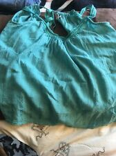 Small  Ecote Embroidered Lace Green Open Back Halter Summer Top NWT