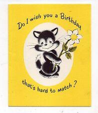 Vintage Norcross Birthday Greeting Card Cat Holding Flower