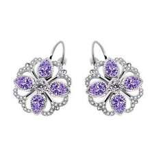 Amethyst Cubic Zirconia White Gold Plated Drop Earrings-Wedding-Gift Jewellery