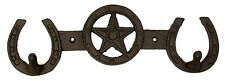 CAST IRON Star With Horseshoes 2-HOOK Rack Hanger Wall Mount Western Decor