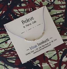 Morse Code 'Believe' Necklace-14K Gold Filled/Sterling Silver Beads & Silk Cord