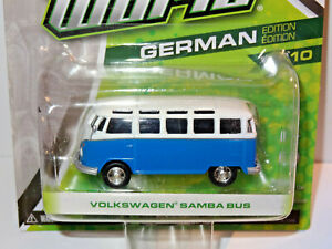 GREENLIGHT MOTOR WORLD BLUE ^& WHITE 1960's VOLKSWAGEN SAMBA BUS