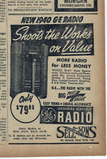 1939 newspaper ad for GE radios - console model H-87, Shoot the works on Value