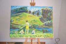 """Archibald  Peddie  Signed oil on canvas The Bathers  Muckhart  30"""" x 22.5"""""""