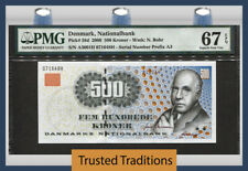 TT PK 58d  2000 DENMARK 500 KRONER PMG 67 EPQ SUPERB 1ST TIME OFFER NONE FINER!