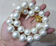 Rare Huge16mm White south sea Shell Pearl Necklace AAA+
