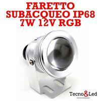 FARETTO SUBACQUEO LED PER FONTANE PISCINE 7W DC 12V RGB IP68 IMMERSIONE