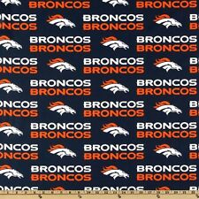 "100% Cotton Fabric Denver Broncos Fabric 58"" Wide NFL Licensed Sold BTY 2507"