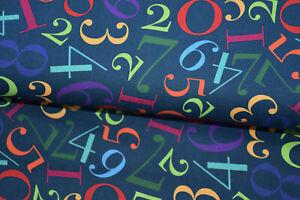 "Stoff Baumwolle ""Kim"" dunkelblau blau rot gelb lila grün bunt Zahlen Ziffern"