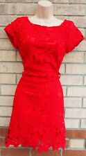 LITTLE MISTRESS RED FLORAL LACE CROCHET SHORT SLEEVE SHIFT BODYCON FIT DRESS 10