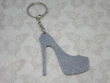 Silver Glitter Shoe Keyring Bag charm Keychain Acrylic High Heel Stiletto Gift