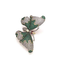 Antique Rose Cut Diamond 2.88ct Silver Emerald Topaz Beautiful Butterfly Brooch