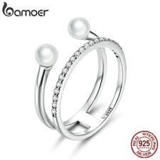 BAMOER 925 Sterling Silver CZ Geometric Shell Bead Finger Ring For Women Jewelry