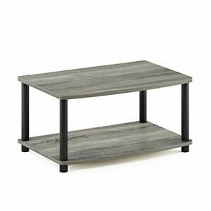 Turn-N-Tube No Tools 2-Tier Elevated TV Stand, French Oak Grey/Black