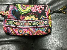 Vera Bradley Small Cosmetic Makeup Bag Folkloric Black/Colorful Flowers, GUC