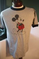 Vtg 1970's NWOT Walt Disney World Classic Mickey Mouse T-Shirt Gray Ringer NOS
