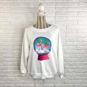 Wildfox Christmas Flamingo Snow Globe Sweatshirt Size Extra Small